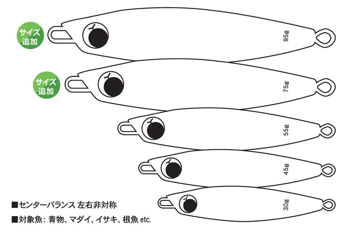TRICKER2 トリッカー2 センターバランス左右非対称 対象魚:青物、マダイ、イサキ、根魚etc. サイズ追加30g 45g 55g 75g 95g