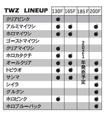 TWZ lineup クリアピンク アルミマイワシ ホロマイワシ ゴーストマイワシ クリアマイワシ ホロカタクチ オールクリア トビウオ サンマ シイラ グルクン ホロピンク ホロブルーバック 130f 165f 185f 200f