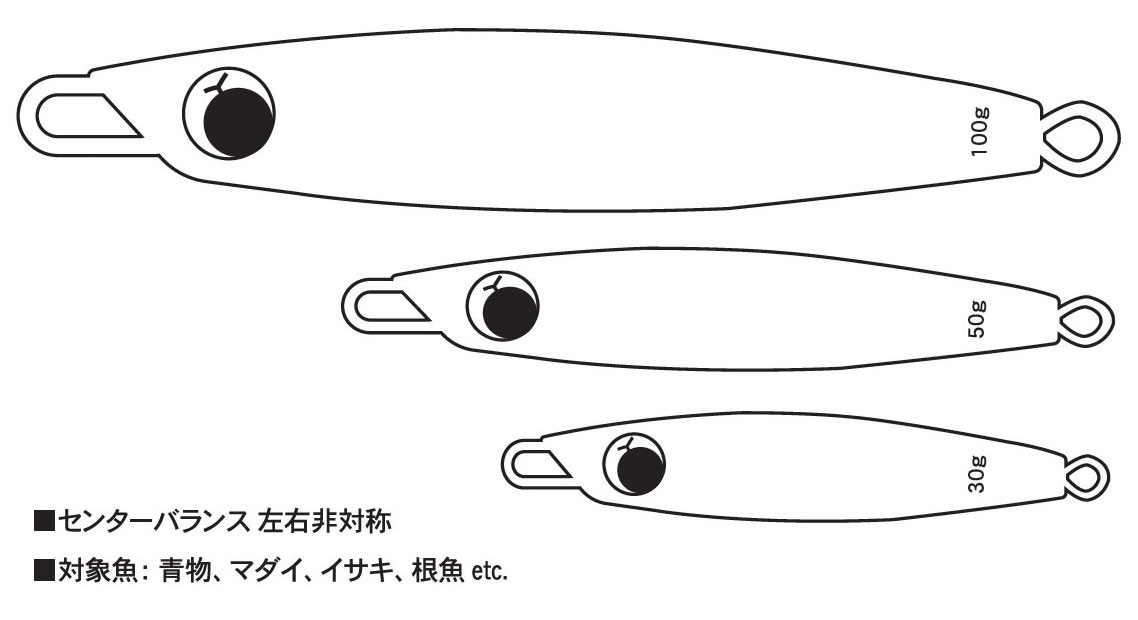 WEAKBAIT MEDIUM ウィークベイトミディアム センターバランス左右非対称 対象魚:青物、マダイ、イサキ、根魚etc. 30g 50g 100g