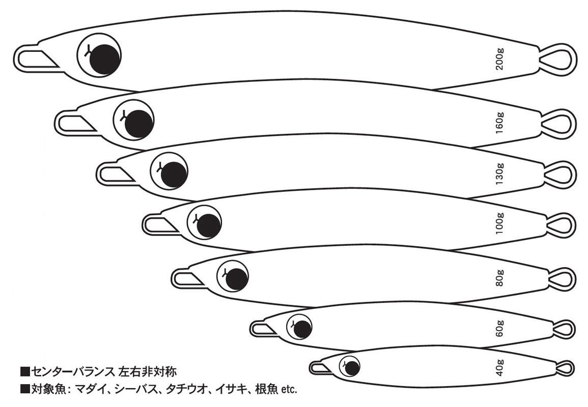 WEAKBAIT SHORT ウィークベイト ショート センターバランス左右非対称 対象魚:マダイ、シーバス、タチウオ、イサキ、根魚etc. 40g 60g 80g 100g 130g 160g 200g